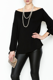 Ella Moss Black Off Shoulder Top - Front cropped