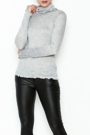 Ella Moss Grey Ruffle Turtleneck - Front cropped