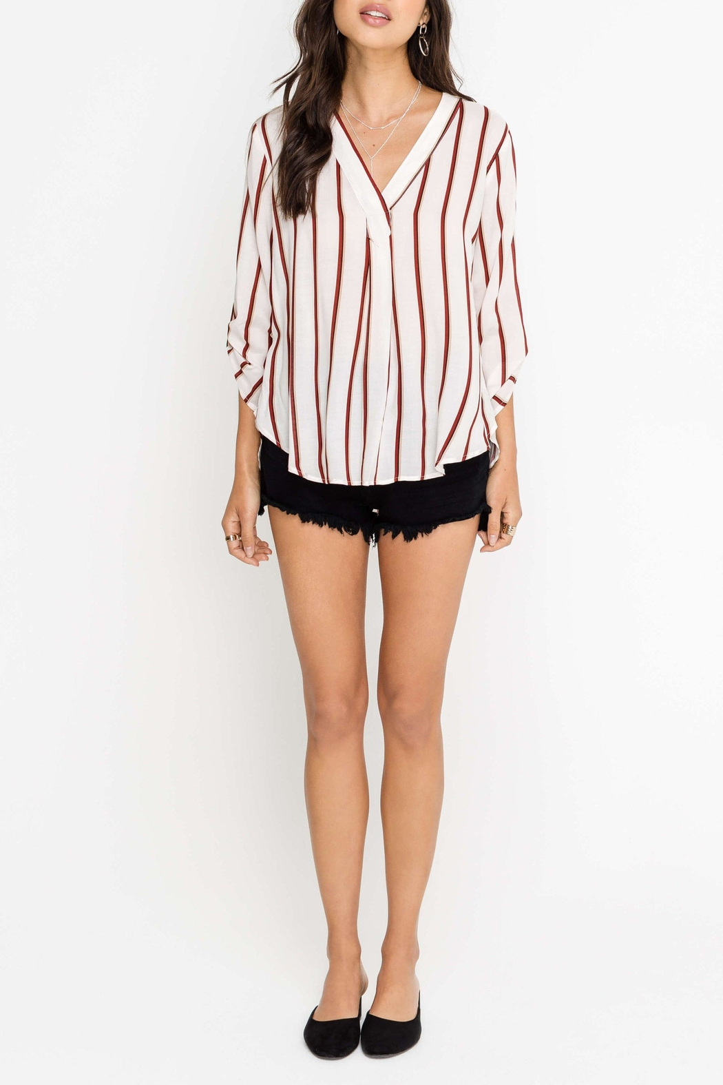 Lush Ella Striped Blouse - Front Cropped Image