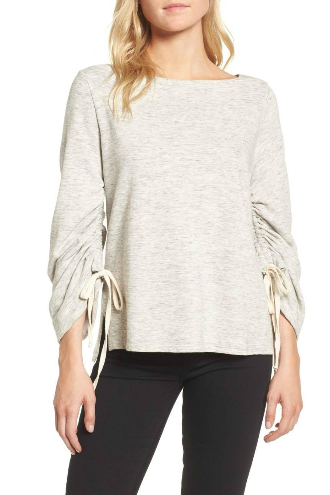 Ella Moss Ruched Sleeve Sweatshirt - Front Cropped Image