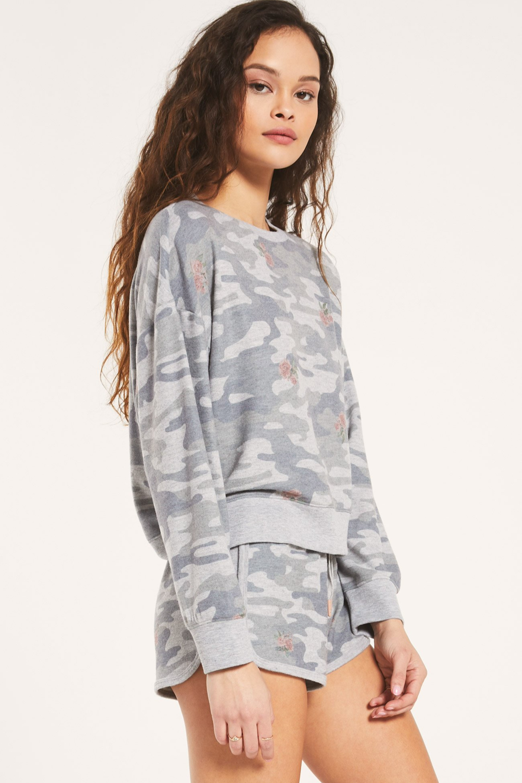 z supply Elle Rose Camo Long Sleeve - Front Full Image