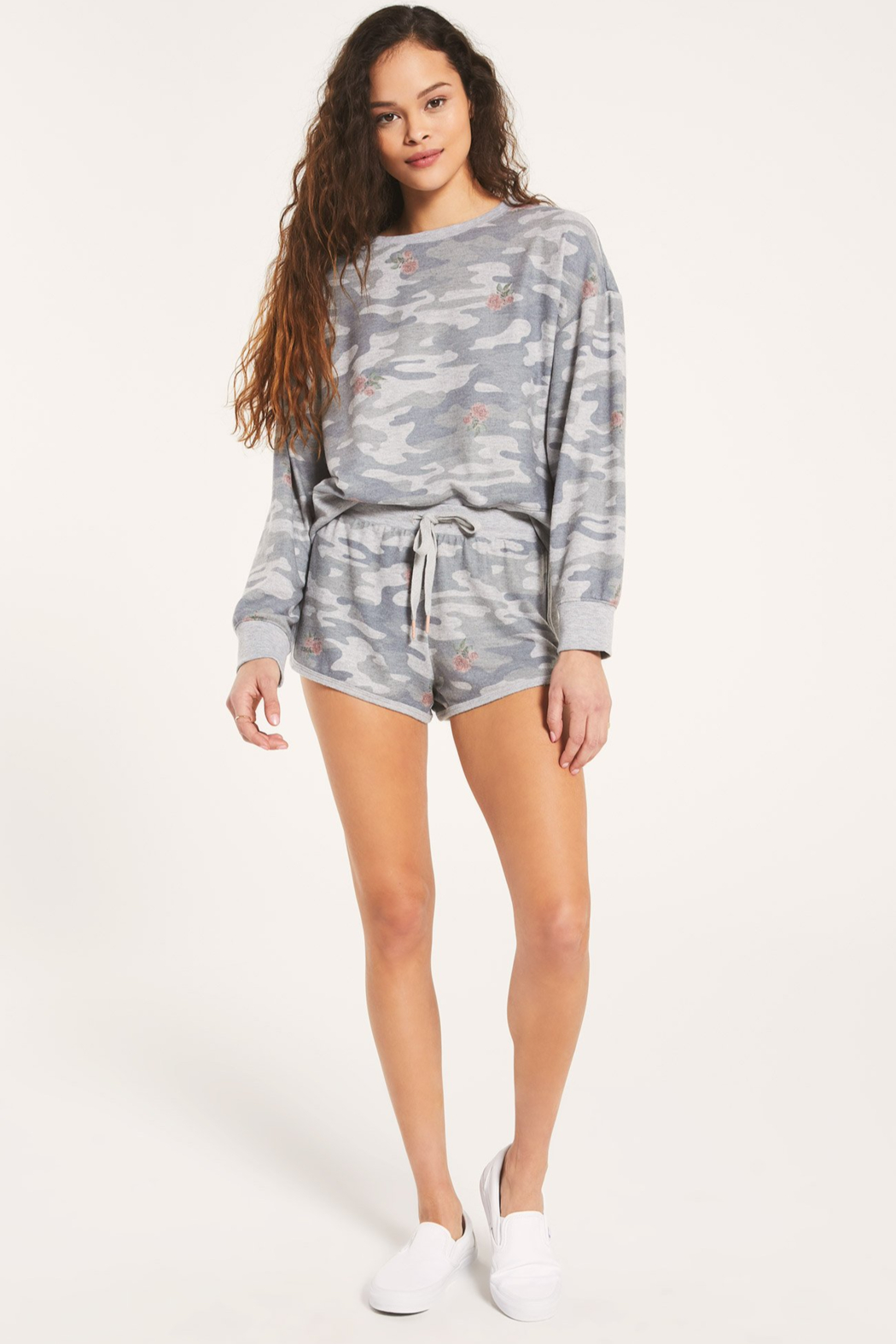 z supply Elle Rose Camo Long Sleeve - Front Cropped Image