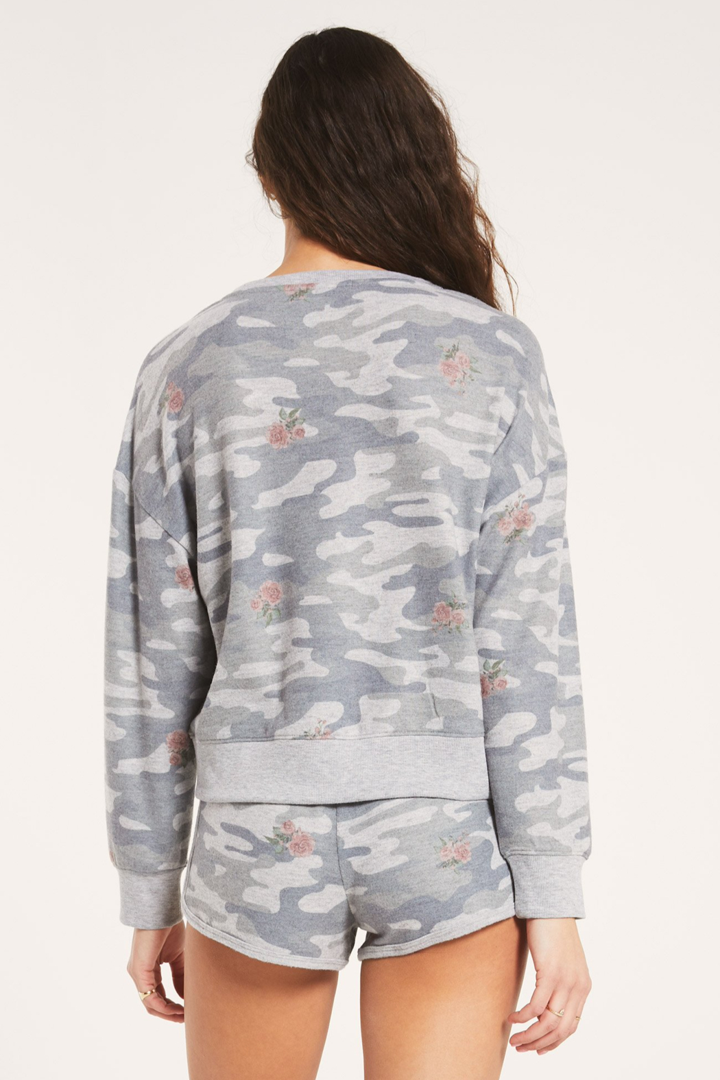 z supply Elle Rose Camo Long Sleeve - Back Cropped Image