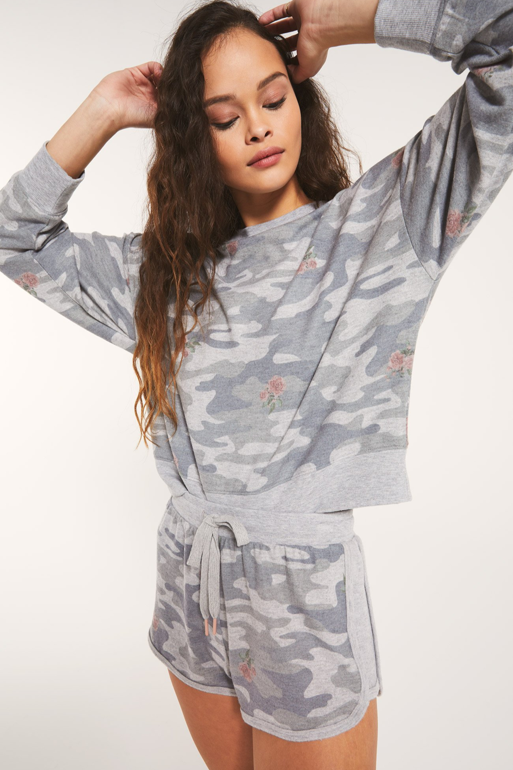 z supply Elle Rose Camo Long Sleeve - Side Cropped Image