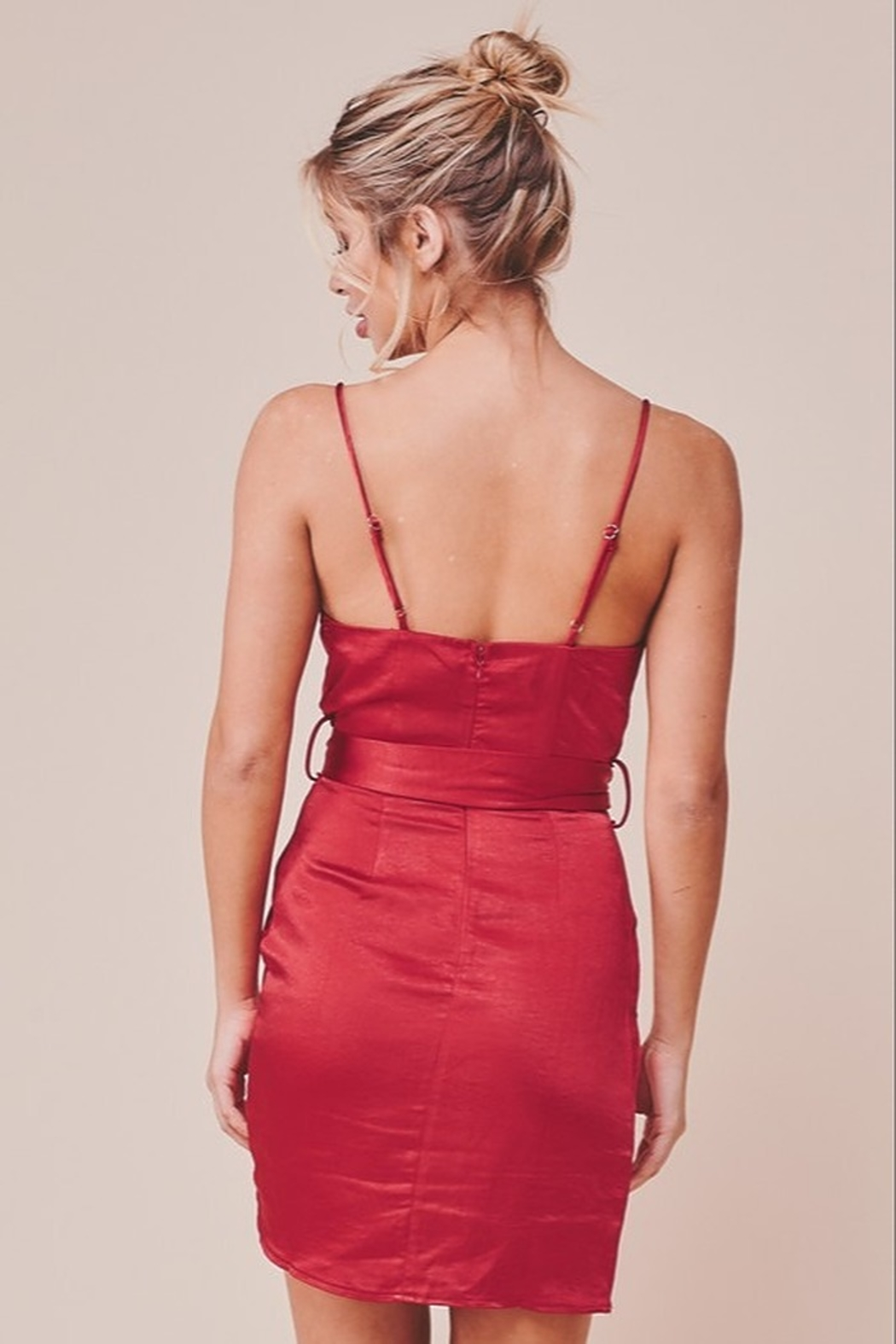 ONE AND ONLY COLLECTIVE ELLE SATIN WRAP MINI DRESS - Side Cropped Image
