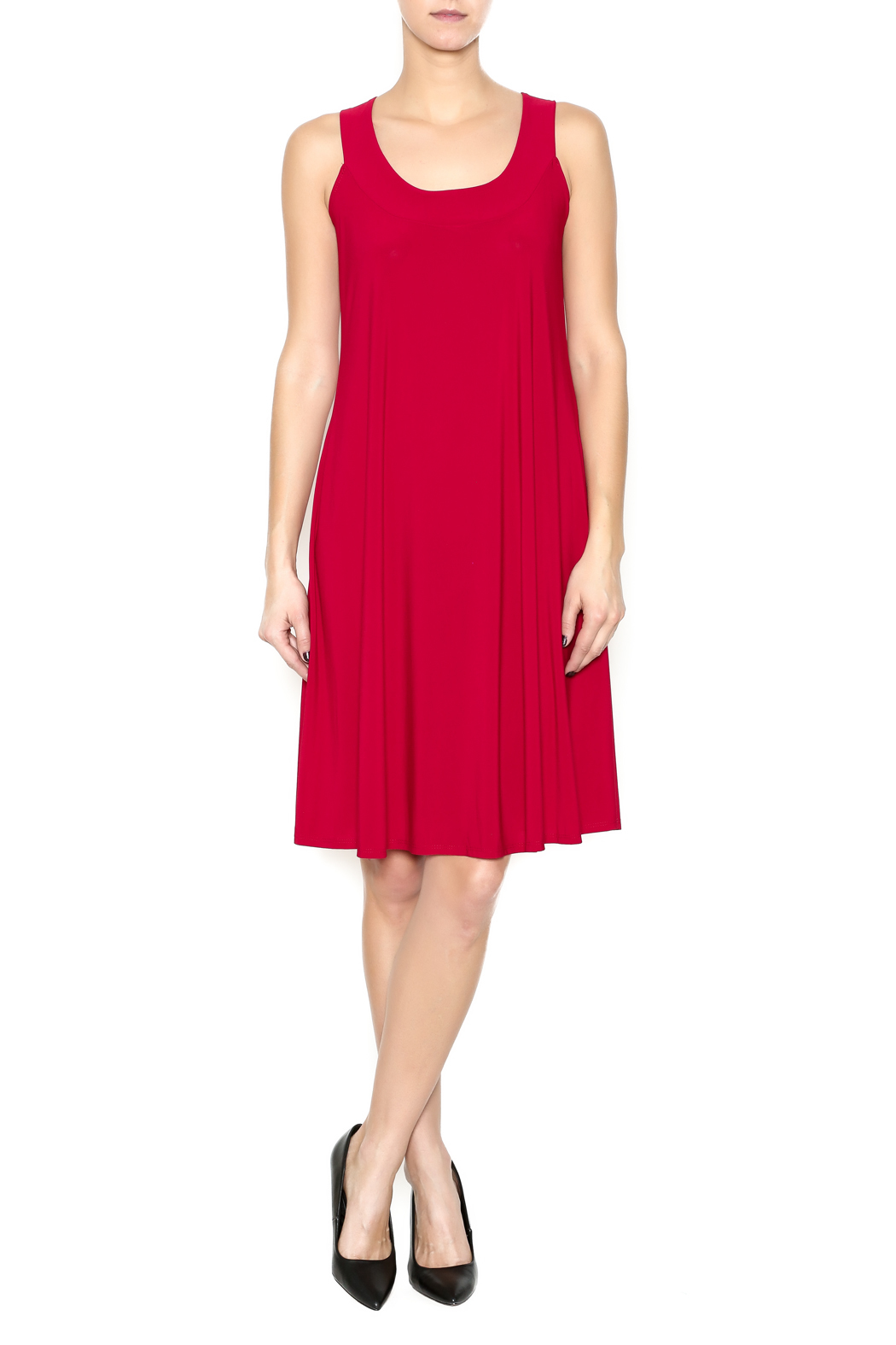 Ellen Parker Red Trapeze Dress - Front Full Image