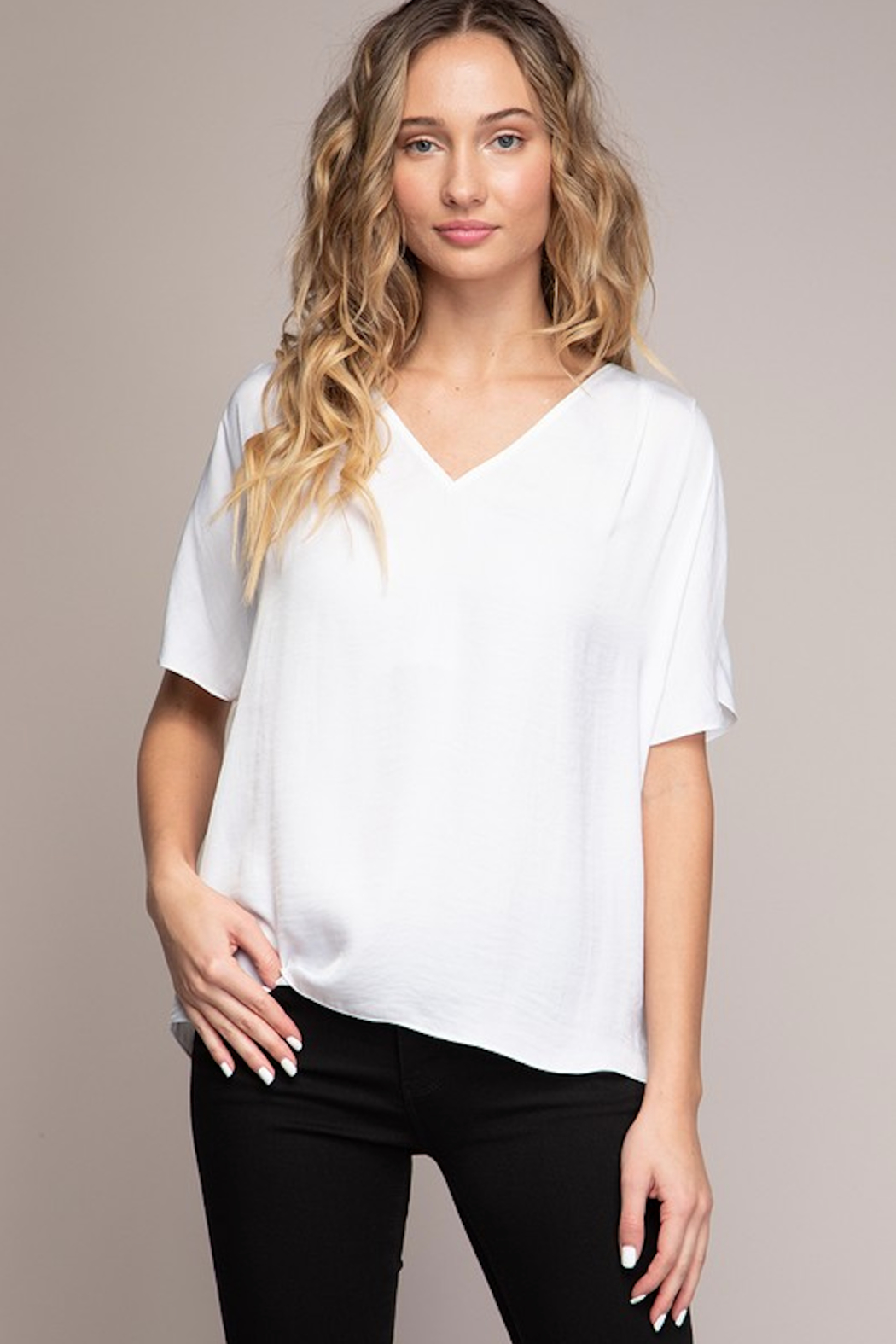 Naked Zebra Ellie Silky Tee - Front Cropped Image