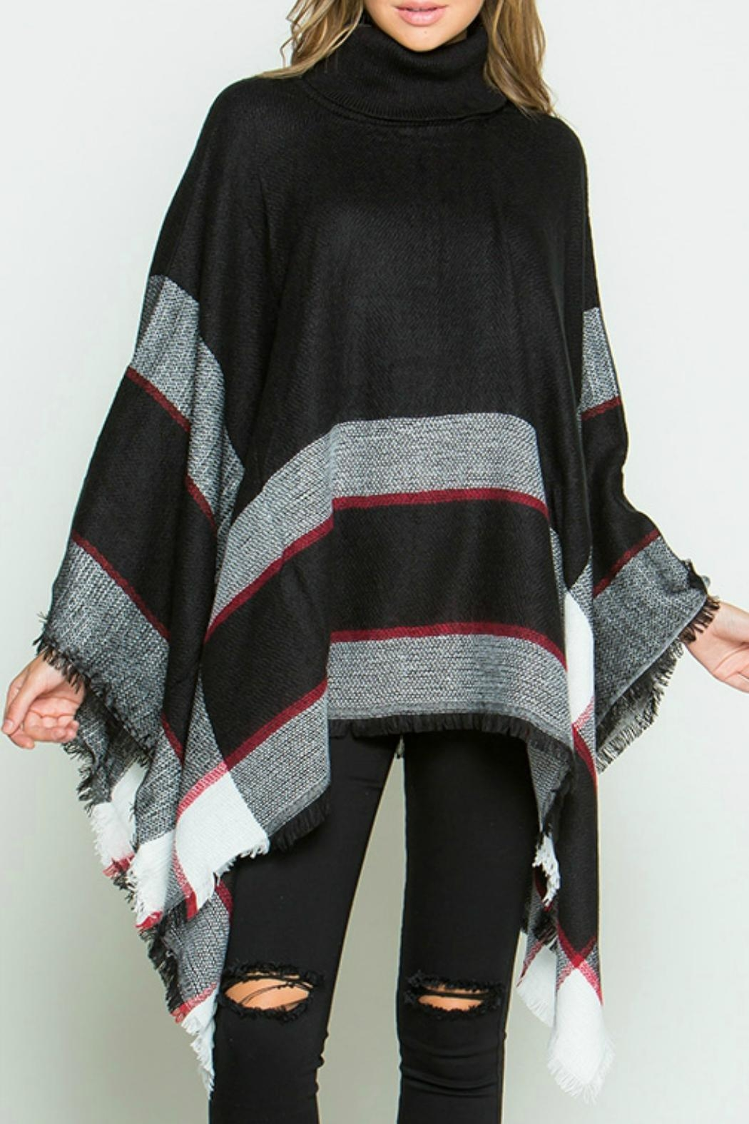 Ellie & Kate Black Plaid Poncho - Main Image