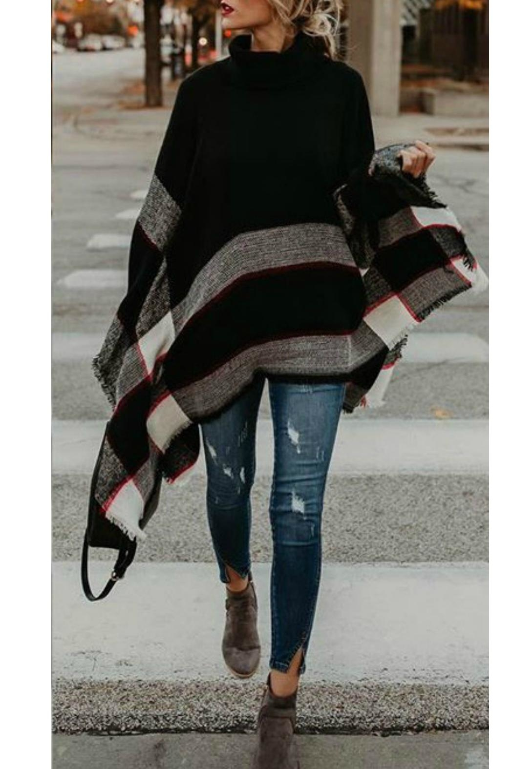 Ellie & Kate Black Plaid Poncho - Front Full Image