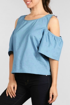 Ellie & Kate Cold Shoulder Chambray Top - Product List Image