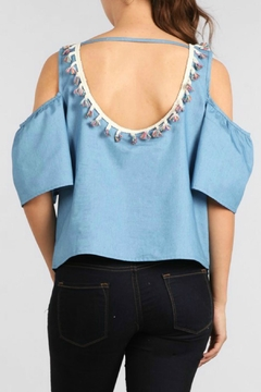 Ellie & Kate Cold Shoulder Chambray Top - Alternate List Image