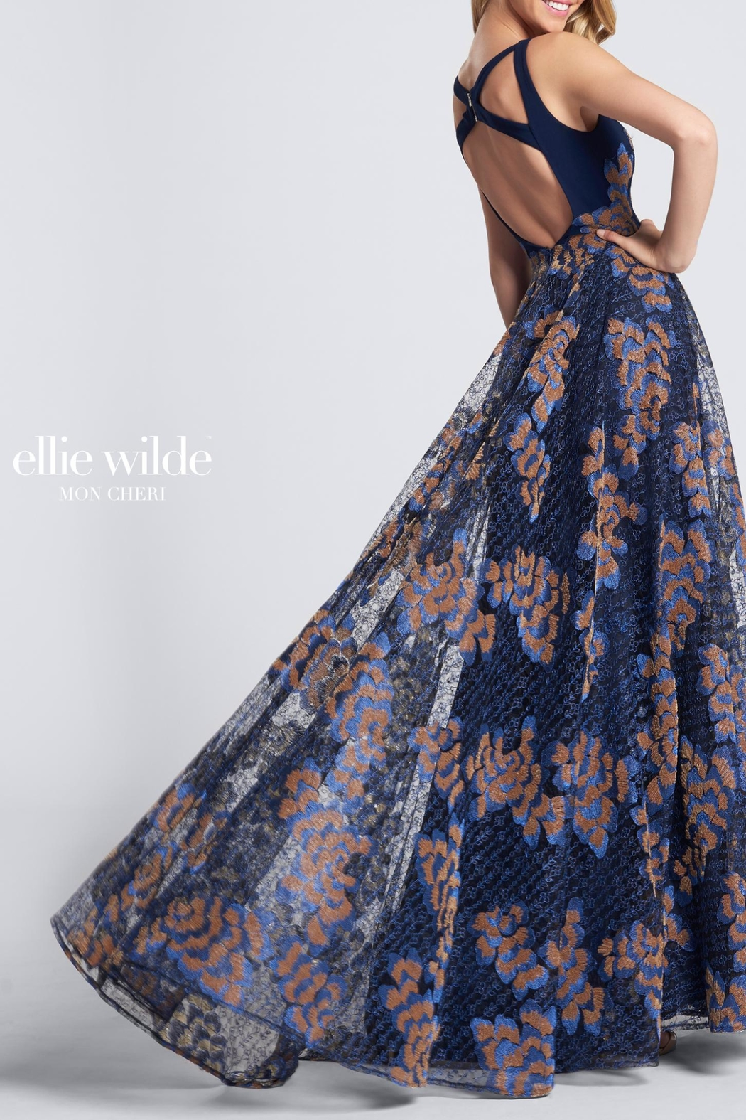 Ellie Wilde Sleeveless Evening Gown - Front Full Image
