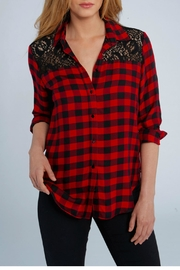 Elliott Lauren Plaid & Lace Shirt - Product Mini Image