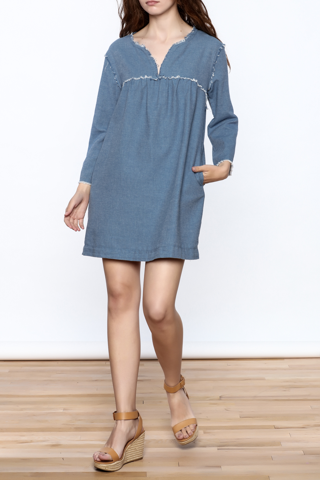 Ellison Frayed Denim Dress - Front Full Image
