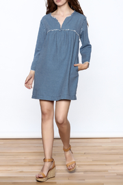 Ellison Frayed Denim Dress - Front full body