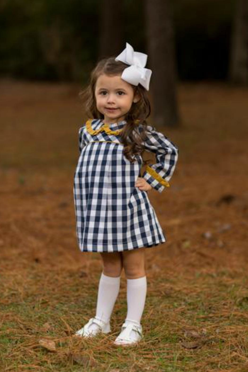 The Oaks Apparel Ellison Navy-Buffalo-Checked Dress - Front Cropped Image