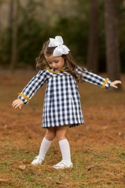 The Oaks Apparel Ellison Navy-Buffalo-Checked Dress - Front full body