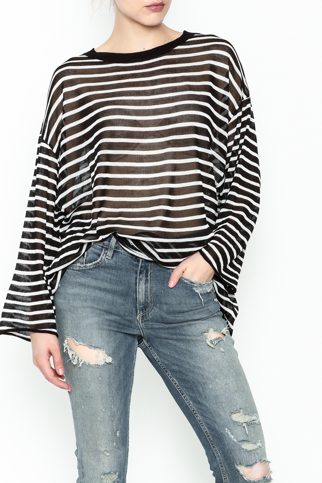 Ellison Sheer Stripe Bell Sleeve Sweater - Front Cropped Image