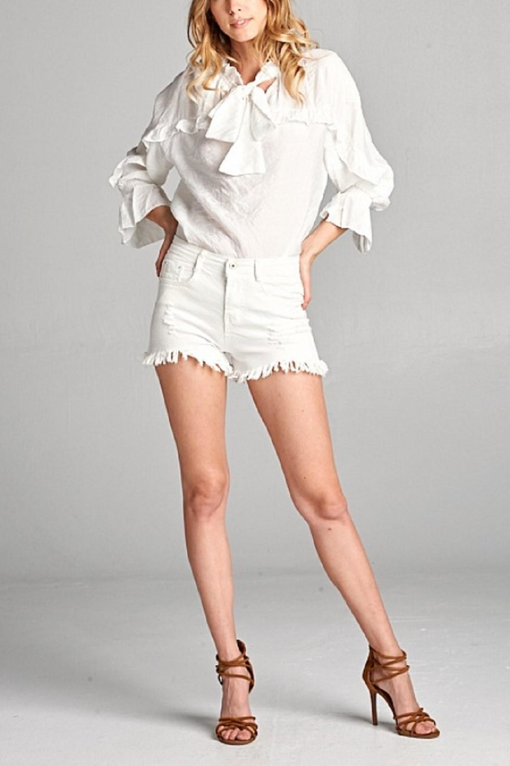 Ellison White Ruffle Button Down - Side Cropped Image