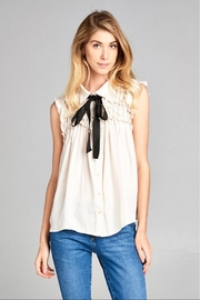 Ellison Taupe Ruffle Top - Front cropped