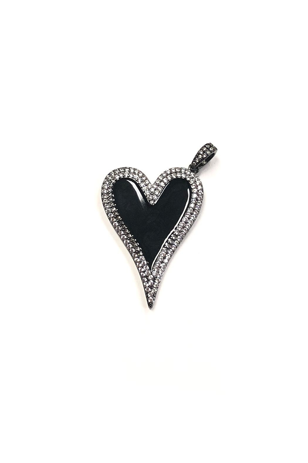 Lovely Lisa Elongated Sparkling-Heart Charm - Main Image
