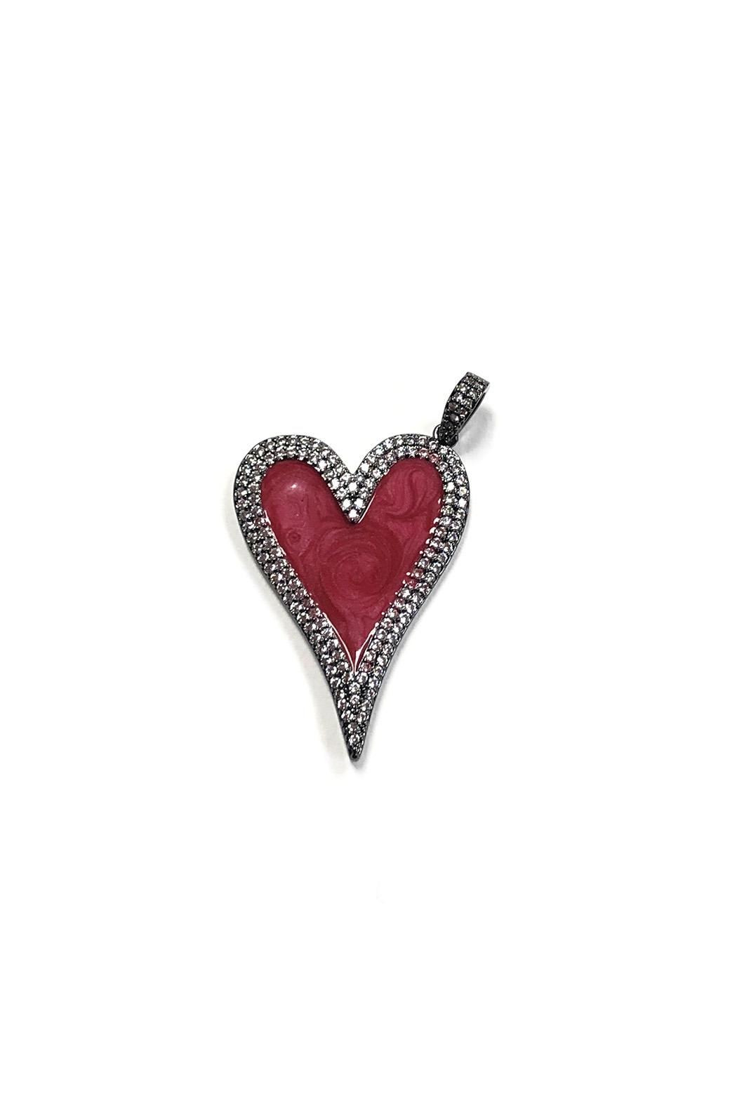 Lovely Lisa Elongated Sparkling-Heart Charm - Front Cropped Image