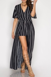 dress forum Elyse Striped-Maxi Romper - Product Mini Image