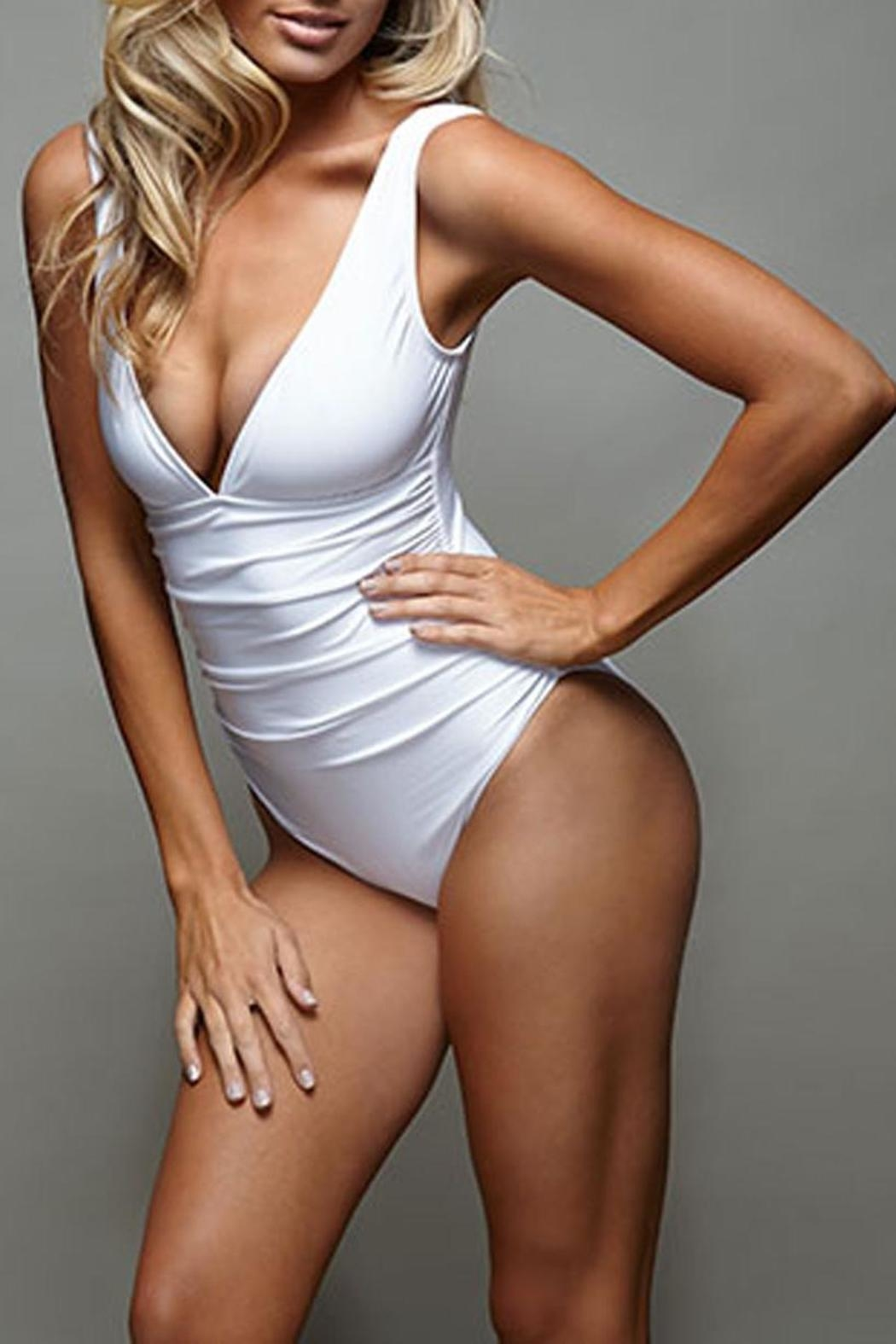 BeachCandy Shirred One Piece - Front Cropped Image