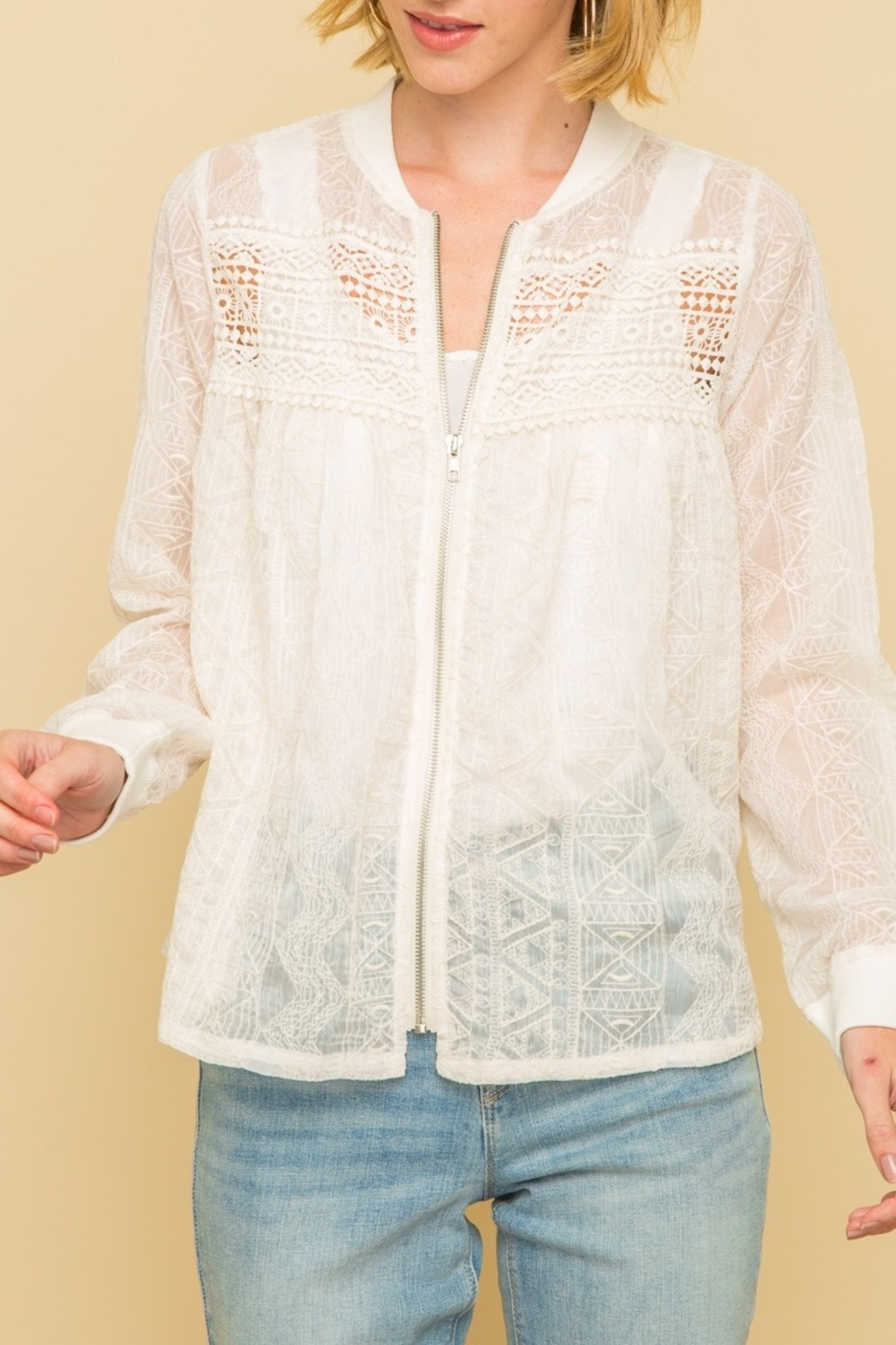 Mystree Emb Lace Bomber Jckt - Front Cropped Image