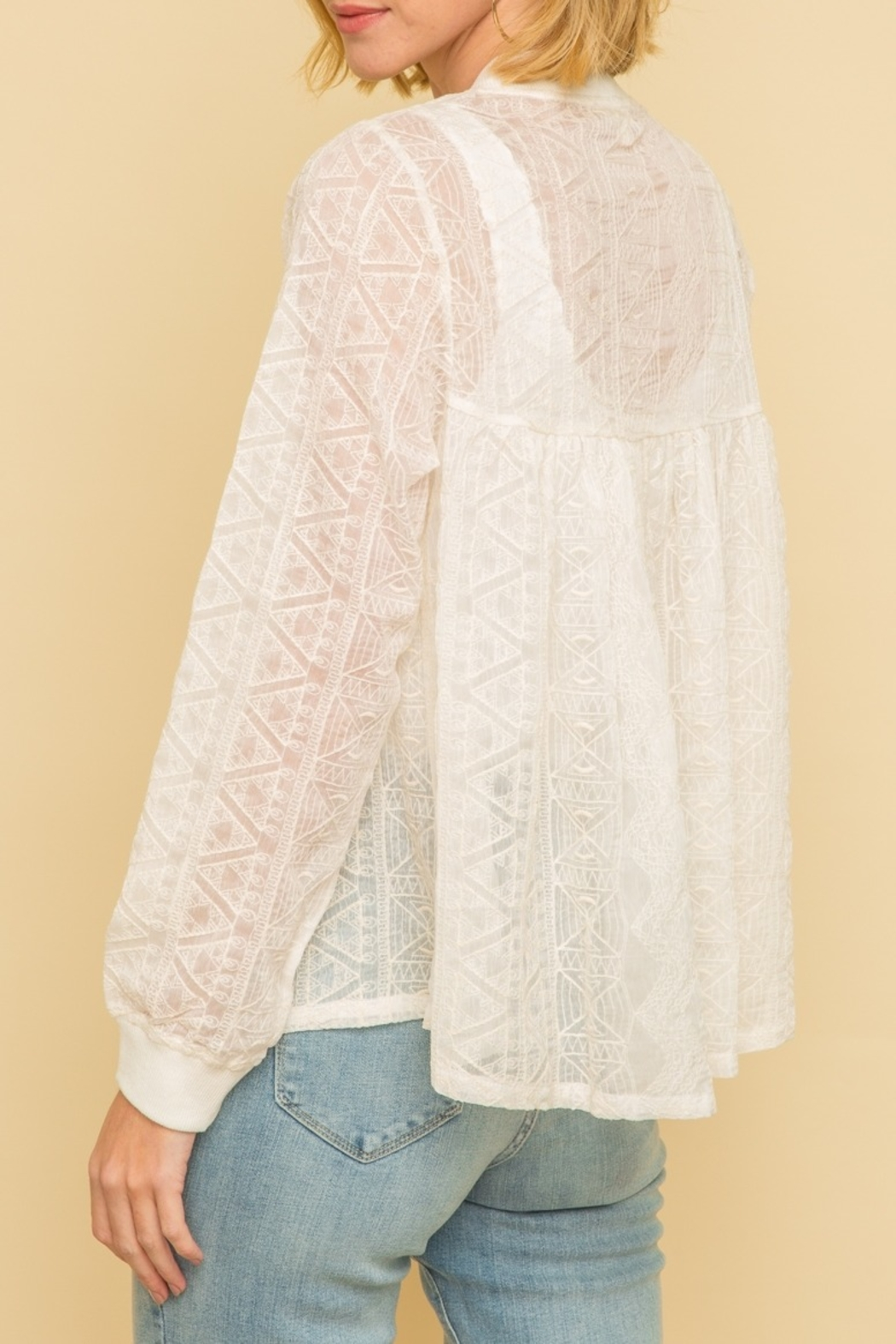 Mystree Emb Lace Bomber Jckt - Front Full Image