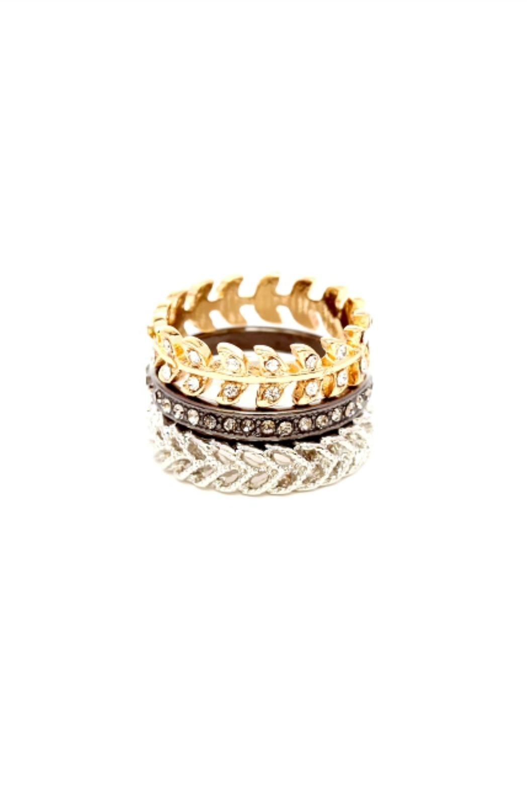 Embellish 3tone  Stacking Rings - Front Cropped Image