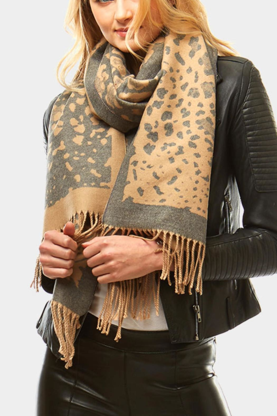 Embellish Animal Print Scarf - Front Cropped Image