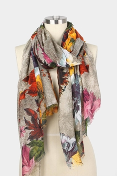 Embellish Beige Floral Scarf - Alternate List Image