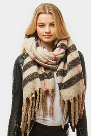 Embellish Beige Plaid Boucle Scarf - Front cropped
