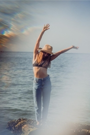 Embellish Best Packable Straw Hat - Front full body