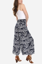 Embellish Black And White Palm Cropped Pants - Front full body