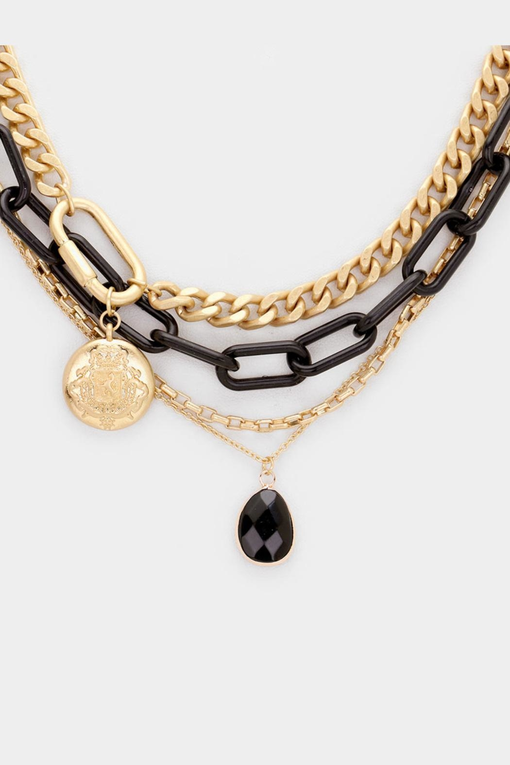 Embellish Black Chain Necklace - Front Full Image