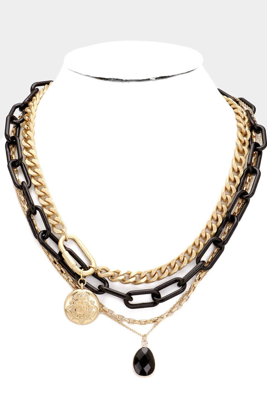 Embellish Black Chain Necklace - Front Cropped Image