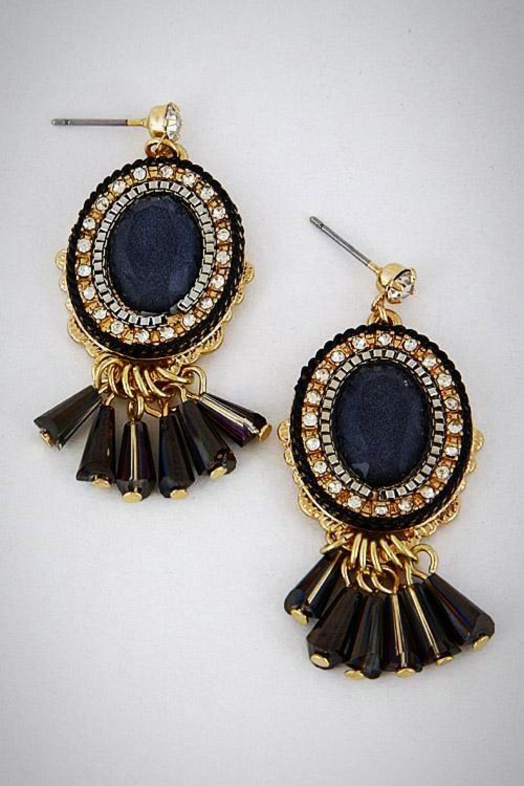Embellish Black Drop Earrings - Front Cropped Image