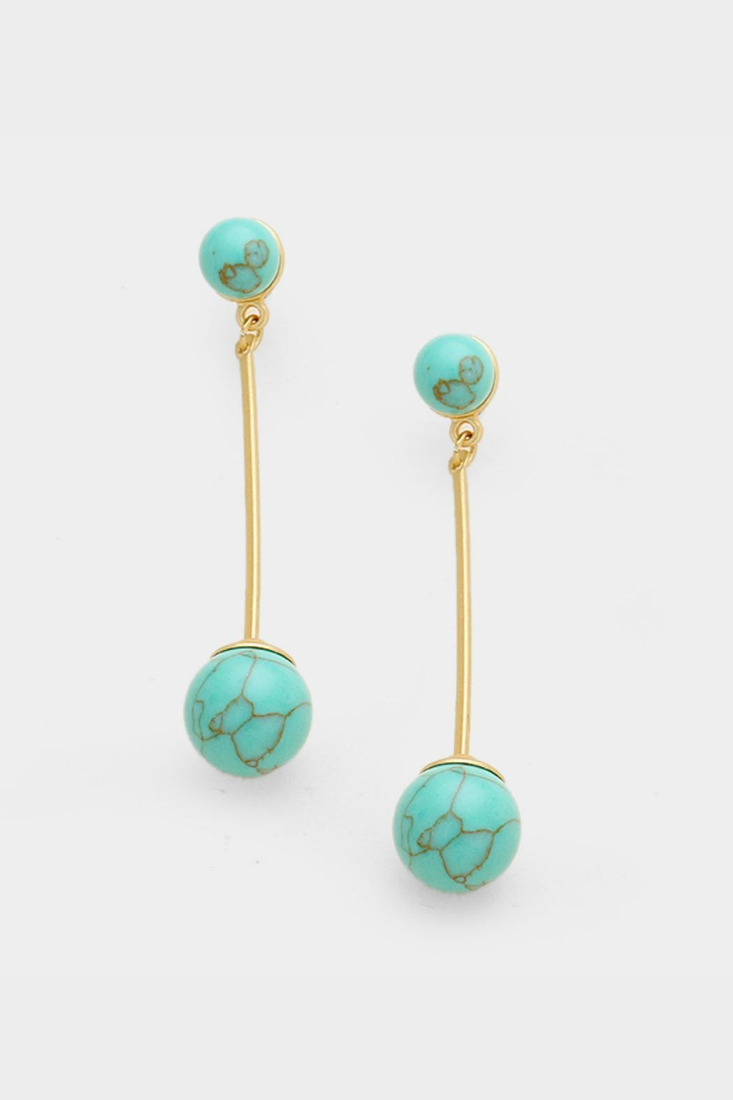 Embellish Stone Ball Earrings - Front Cropped Image
