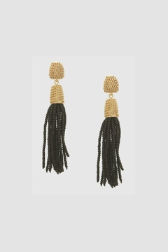 Embellish Black Tassel Earrings - Alternate List Image