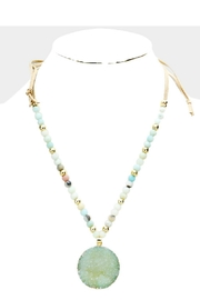 Embellish Blue Druzy Necklace - Front full body