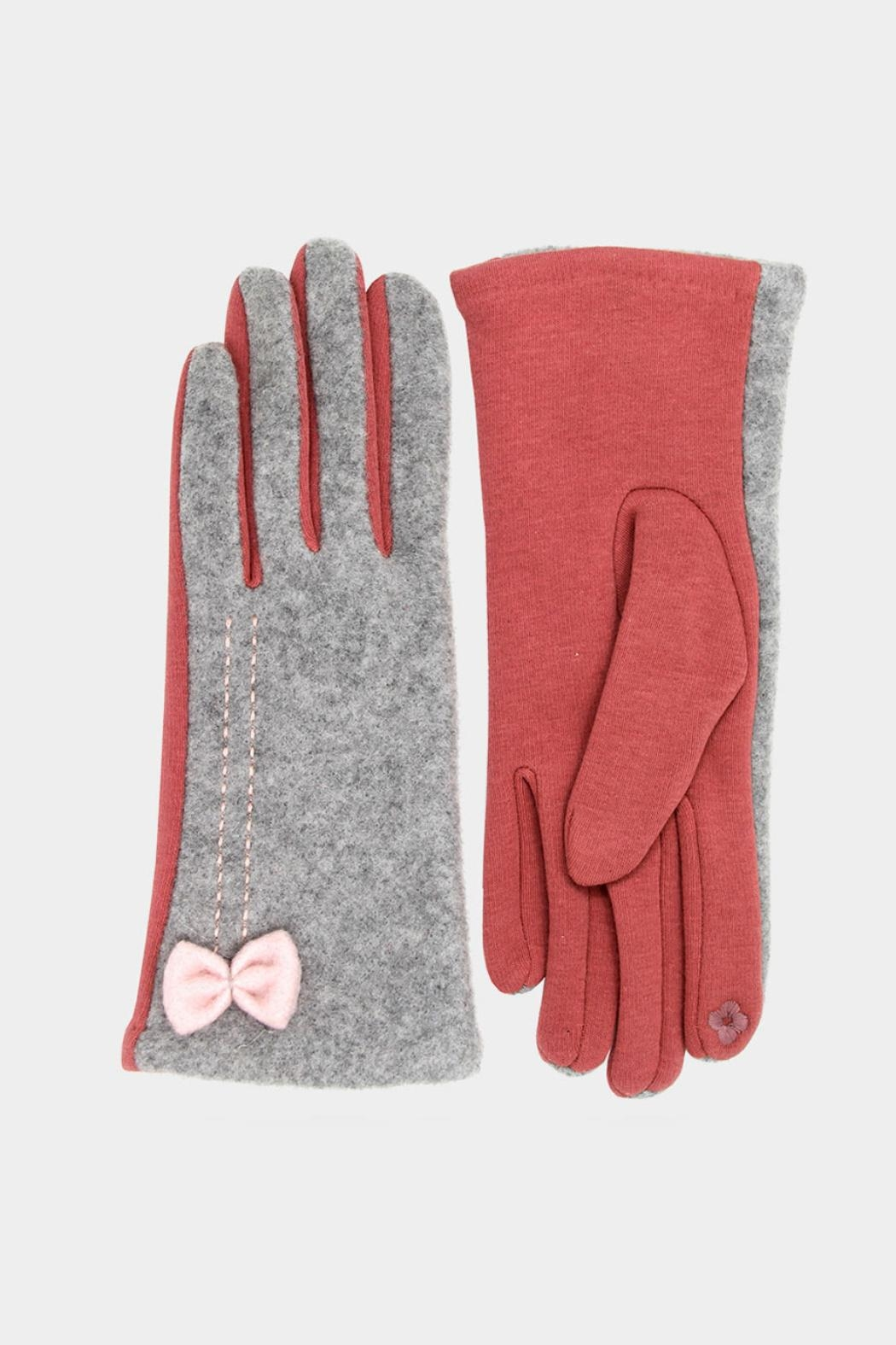 Embellish Bow Texting Gloves - Front Cropped Image