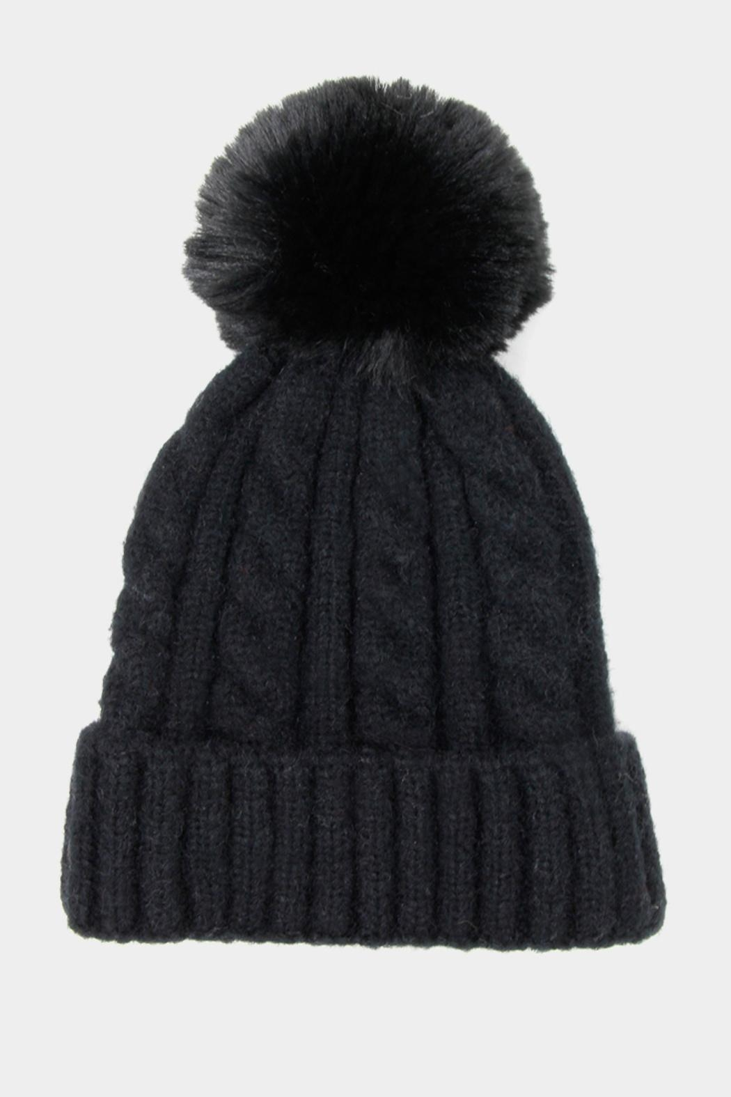 Embellish Cable Pom Hat - Front Full Image