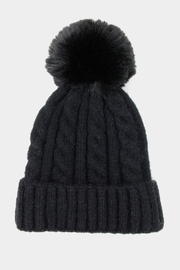 Embellish Cable Pom Hat - Front full body
