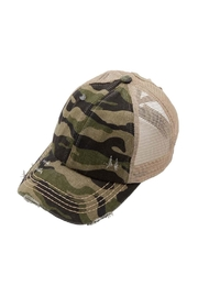 Embellish Camo Criss Cross Pony Tail Baseball Cap - Product Mini Image