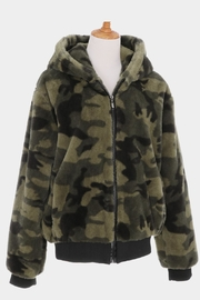 Embellish Camo Fur Hoodie - Front cropped