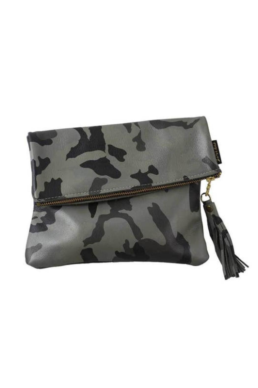 Embellish Camo Leather Fold-Over Clutch - Front Cropped Image