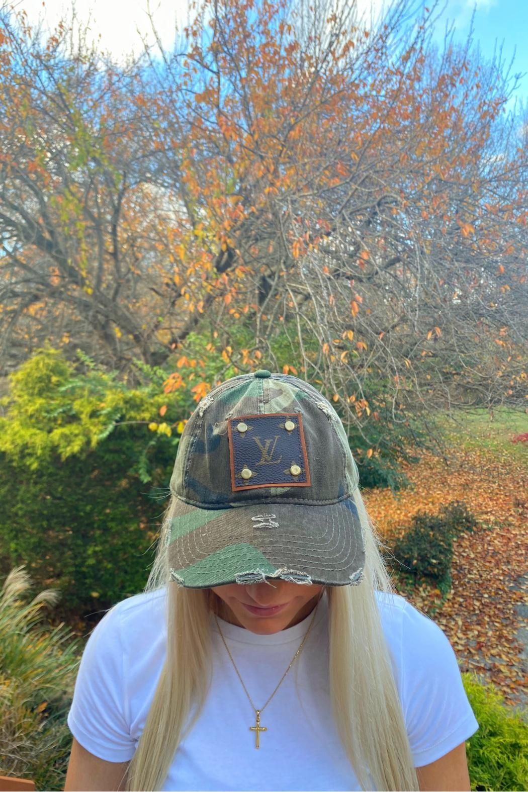 Embellish Camouflage Louis Vuitton Upcycled Cap - Front Full Image