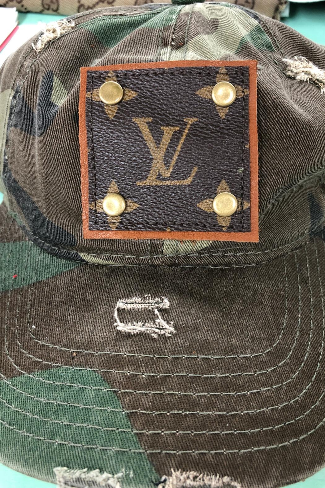Embellish Camouflage Louis Vuitton Upcycled Cap - Main Image